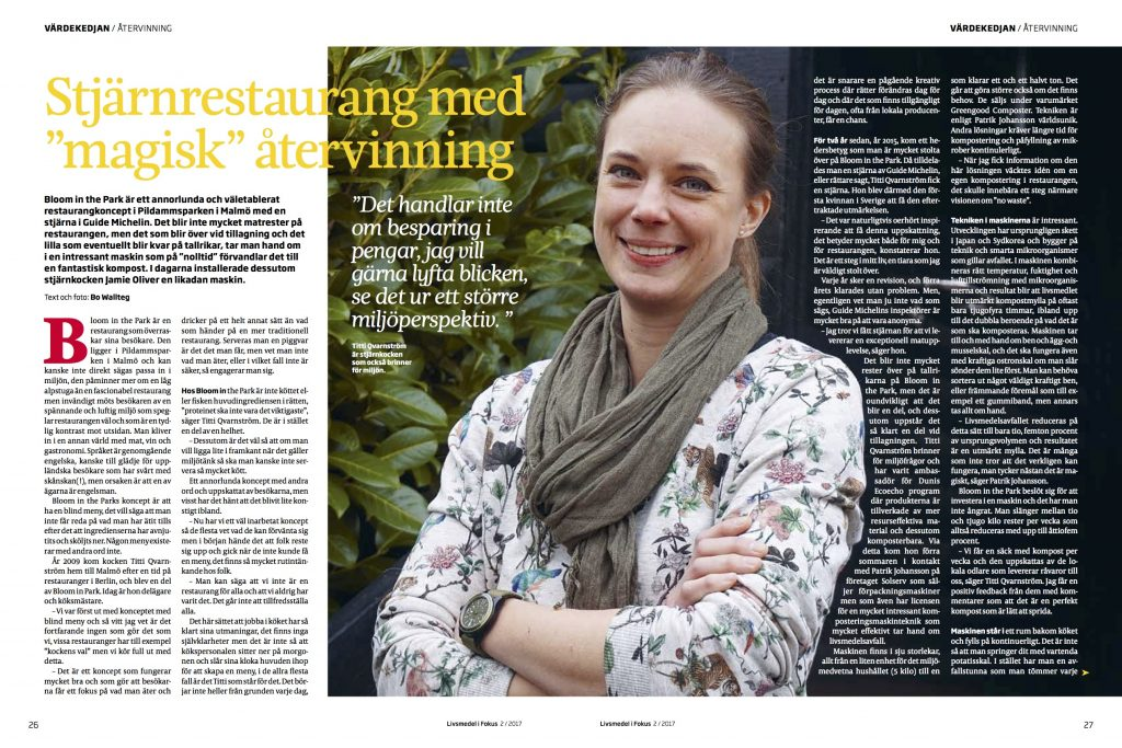 A Swedish magazine publishes an article about Bloom in the Park